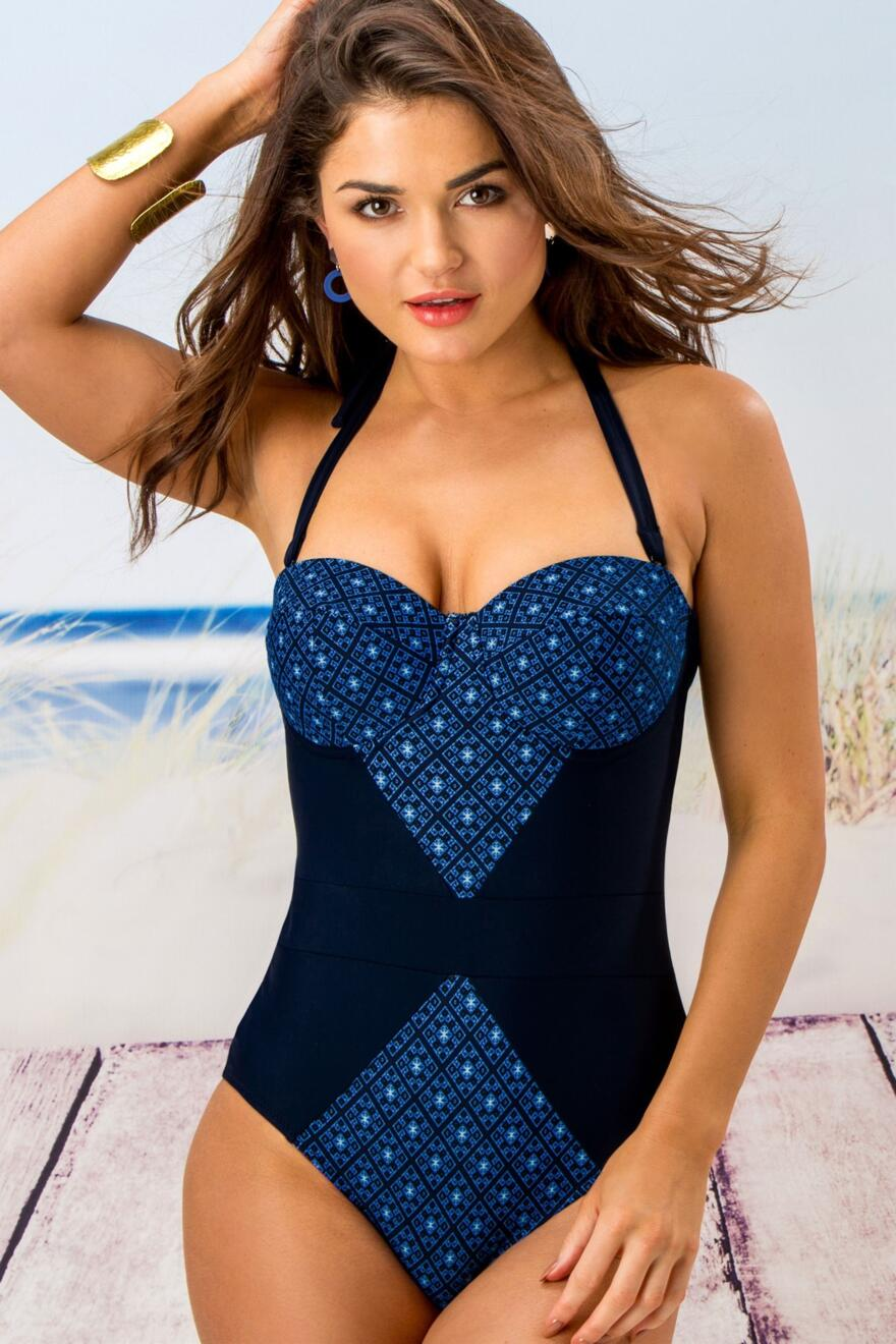 Blue Multi Pour Moi Daydreamer Ring Neck Control Swimsuit 40007