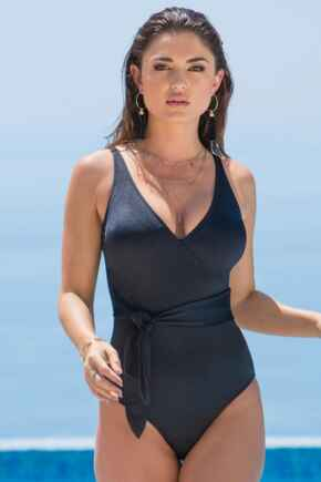 Azure Wrap Belted Control Swimsuit - Black