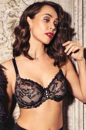 Sofia Lace Embroidered Side Support Bra - Black