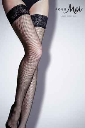 Tempt Lace Top Fishnet Hold Up - Black