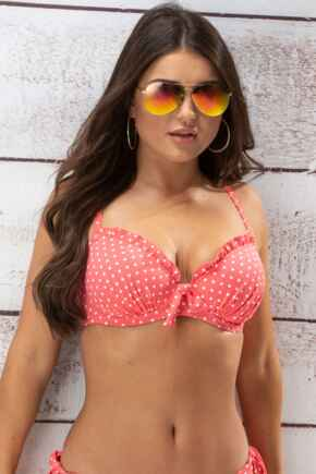 Hot Spots Padded Underwired Top - Coral