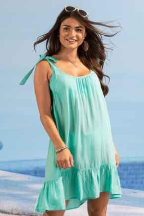 Escape Tie Shoulder Beach Dress - Aqua