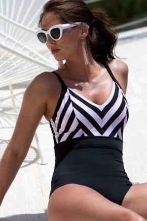 Borderline V Neck Control Swimsuit  - Black/Pink