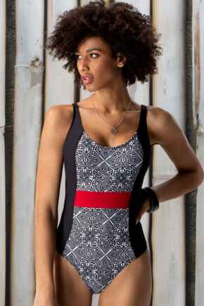 Starboard Control Swimsuit - Black/Deep Red