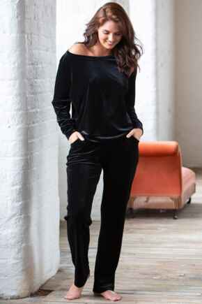 Velour Pyjama Set - Black