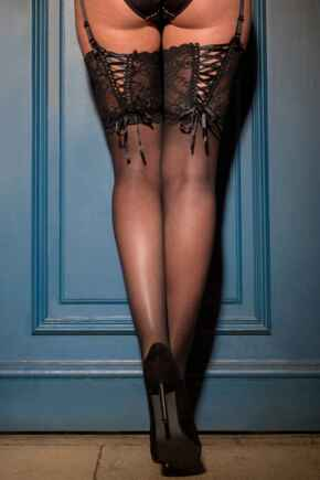 All Tied Up Laced Up 15 Denier Stocking - Black