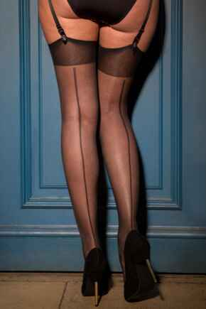 Illicit Vintage 15 Denier Back Seam Stocking - Black