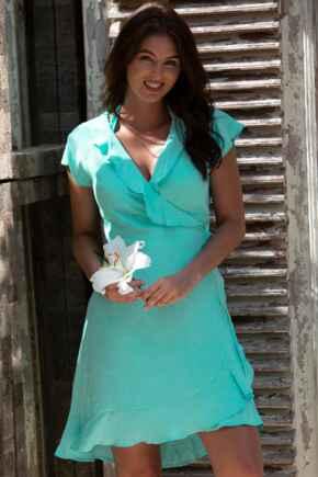 Textured Frill Wrap Beach Dress - Mint