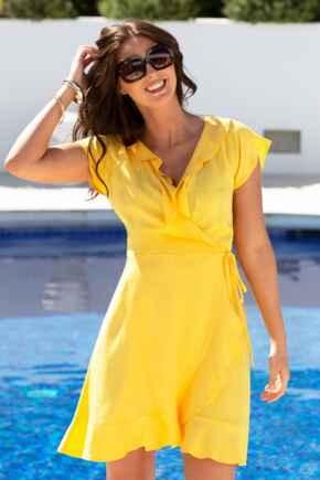 Textured Frill Wrap Beach Dress - Yellow