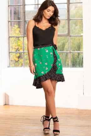Frill Detail Woven Wrap Skirt - Green Floral