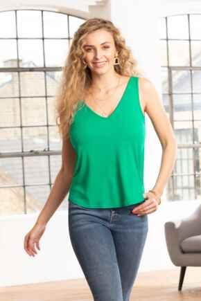 Sophie Jersey V Neck Vest - Emerald