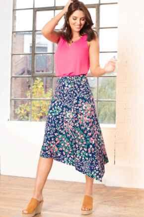 Slinky Jersey Asymmetric Midi Skirt - Navy Floral