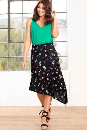 Slinky Jersey Asymmetric Midi Skirt - Black Floral