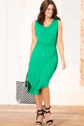 Jenny Shirred Waist Midi Jersey Dress - Emerald