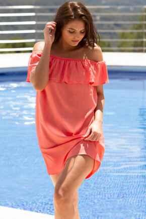 Textured Bardot Beach Dress - Coral
