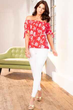 Linen Blend Bardot Top - Red Floral