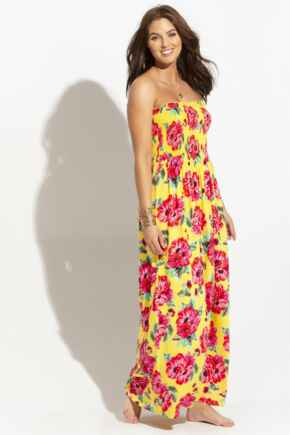 Removable Straps Shirred Bodice Maxi Dress - Mimosa