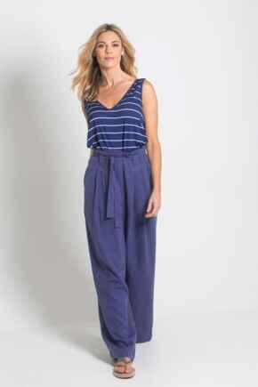Linen Blend Wide Leg Trouser - Navy