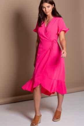 Frill Detail Woven Midi Wrap Dress - Hot Pink