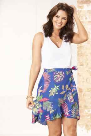 Frill Detail Woven Wrap Skirt - Cobalt Floral