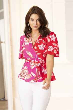 Tie Detail Woven Wrap Top - Pink Floral