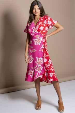 Frill Detail Woven Midi Wrap Dress - Pink Floral