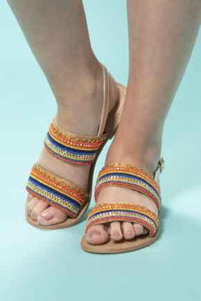 Embellished Two Strap Leather Sandal - Multi