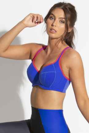 Energy Reach Underwired Lightly Padded Sports Bra - Cobalt/Red
