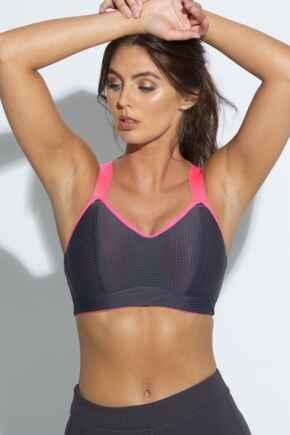 Energy Empower U/W Lightly Padded Convertible Sports Bra  - Grey/Hot Pink