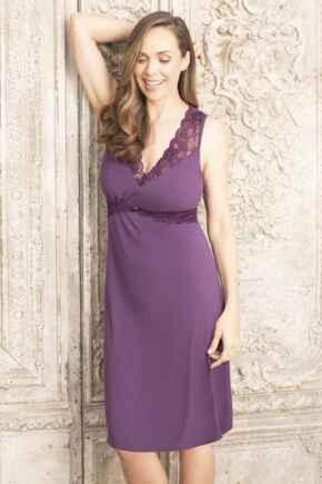 Modal Jersey Lace Trim Secret Support Nightdress - Purple