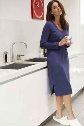 Modal Jersey Long Sleeve V Neck Secret Support Nightdress - Navy
