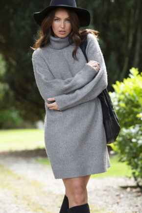Roll Neck Chunky Knit Dress - Charcoal
