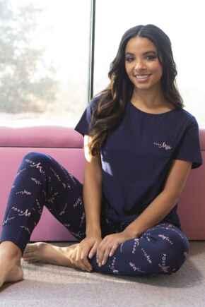Pour Moi Logo Cuffed Jersey Pyjama Set - Navy