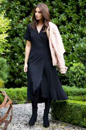 Megan Slinky Jersey Frill Detail Midi Wrap Dress - Black