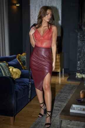 Elise Faux Leather Midi Pencil Skirt - Burgundy