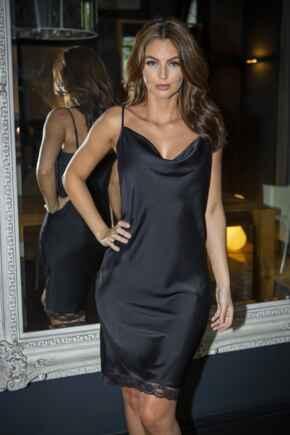 Jade Satin Lace Cami Dress - Black
