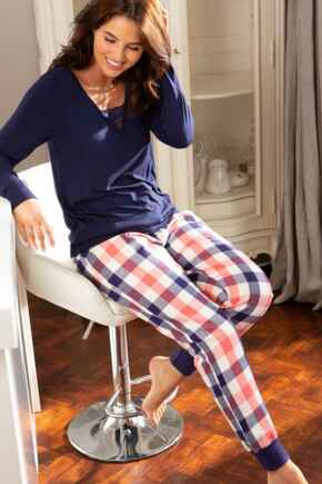 Cosy Check Cuffed Lurex Trouser - Coral/Navy