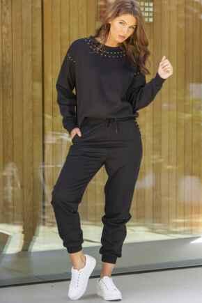Stud Embellished Fleeceback Cuffed Jogger - Black/Gold