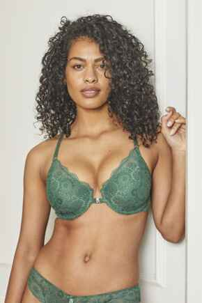 Love Front Fastening Padded Bra - Forest