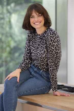 Leopard Print Compact Knit Jumper - Grey