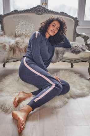 Stripe Detail Soft Knit Lounge Jogger - Denim Blue