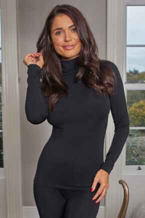 Second Skin Thermal Roll Neck Top - Black