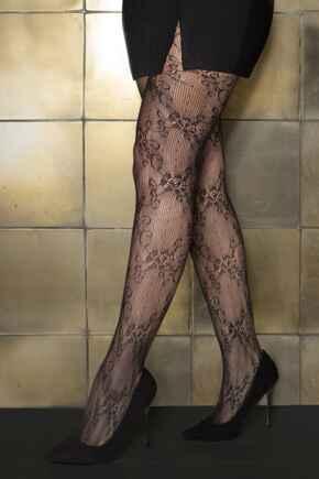 Make A Scene Lace Tights - Black