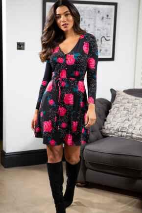 Bella Slinky Recycled Jersey Long Sleeve Tea Dress - Black/Rose Bloom