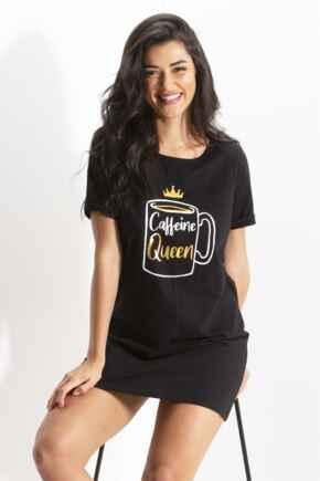 Caffeine Queen Boyfriend Sleep Tee - Black/Gold