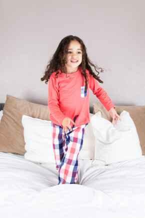Mini Moi Cosy Check Pyjama Set - Coral/Navy