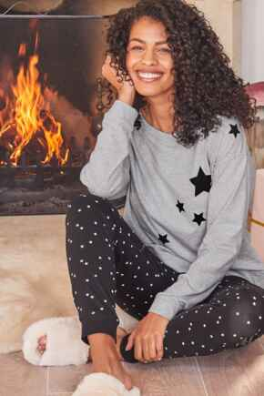 Star Print Jersey Jogger Cotton Pyjama Set - Grey/Black