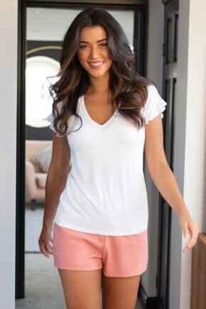 Lounge High Waist Jersey Shorts  - Neutral Rose