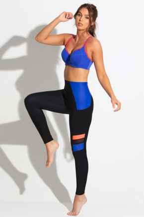 Energy Colour Block Sports Legging - Black
