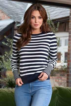 Breton Stripe Knit Jumper - Navy/White